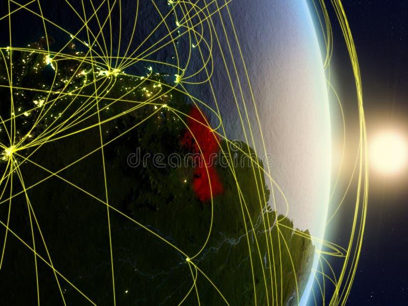 La Guyane sur la terre reliée au réseau de planète photographie stock libre de droits
