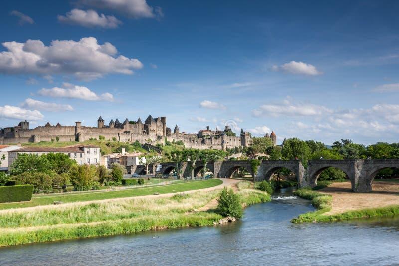 La haalt Carcassonne aan stock afbeeldingen