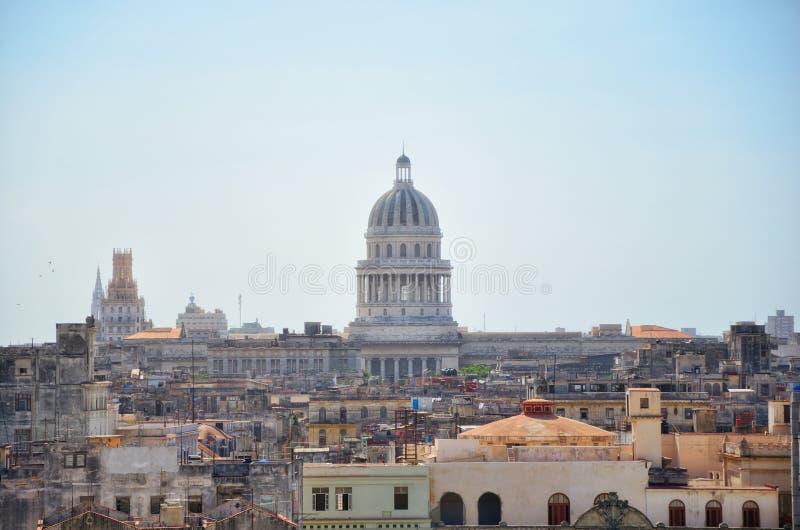 La Habana Capitolio. Citysacpe view of Capitolio building of Havana, Cuba stock images