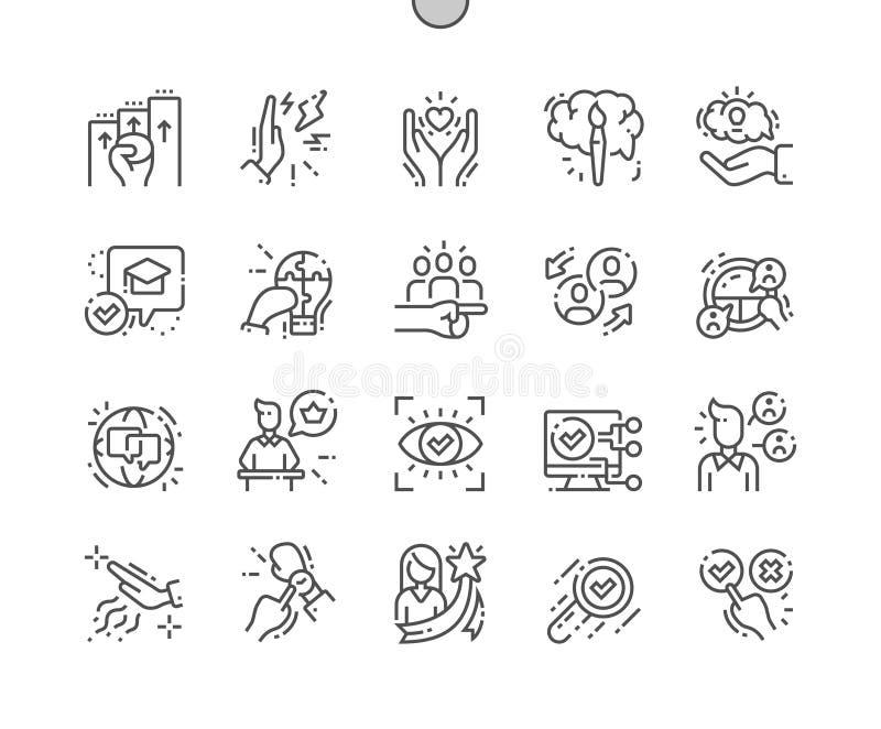 La habilidad de la vida Bien-hizo la línea fina iconos del vector a mano perfecto del pixel ilustración del vector