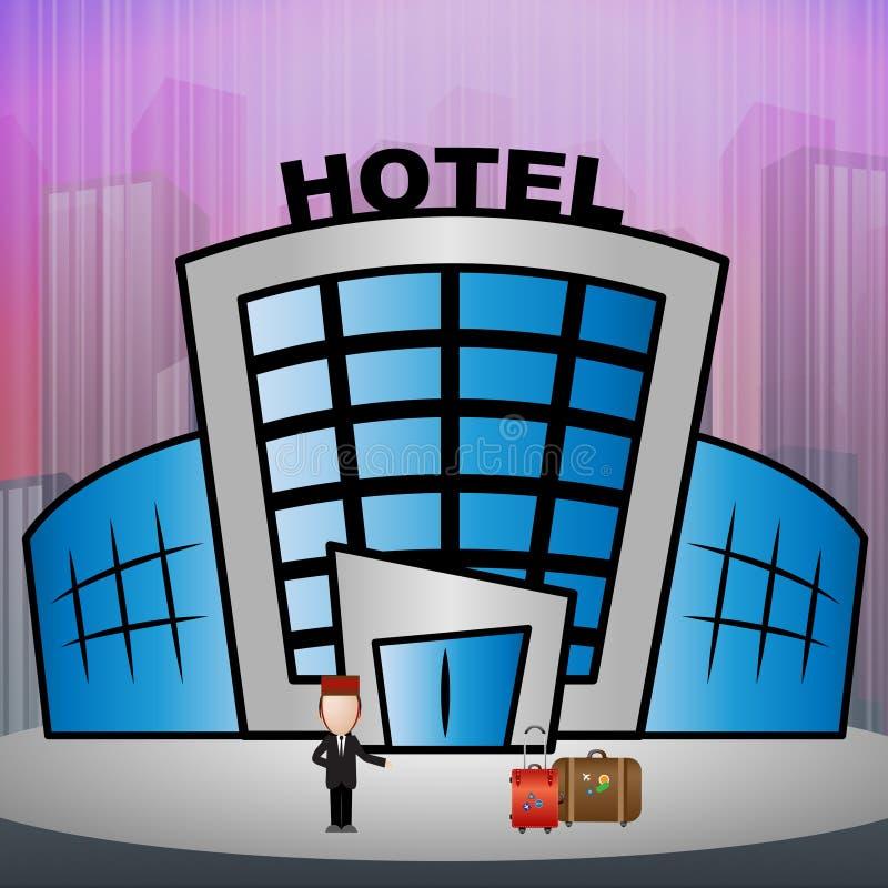 La habitación significa el ejemplo de la reserva 3d de la ciudad ilustración del vector
