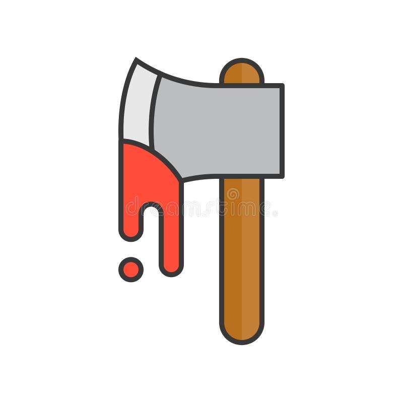 La hache ensanglantée de Murdere, Halloween a rapporté l'icône, a rempli desig d'ensemble illustration libre de droits