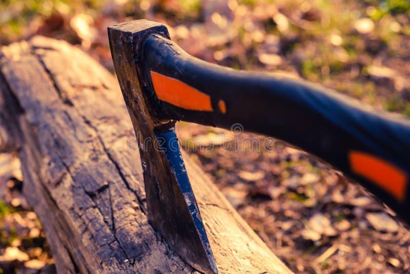 La hache est coincée dans le rondin en bois sec du bois de chauffage sur un pique-nique pour un feu de barbecue image libre de droits