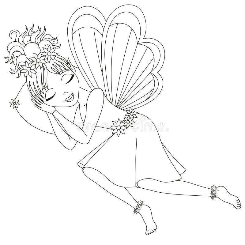 La hada linda está durmiendo en la almohada, libro de colorear stock de ilustración