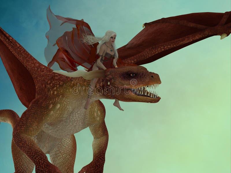 La hada monta el dragón stock de ilustración
