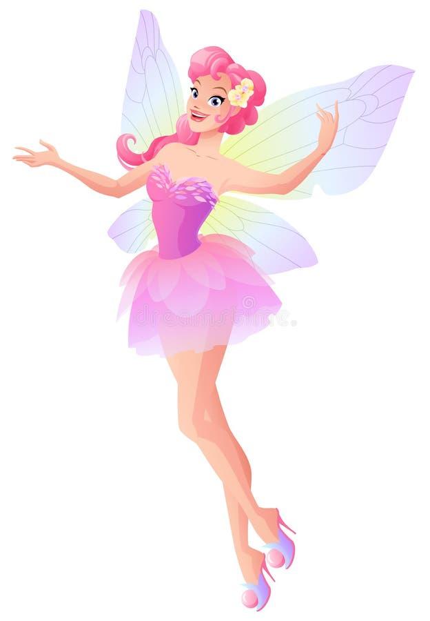La hada rosada con la mariposa se va volando el vuelo y la presentación Ilustración del vector ilustración del vector