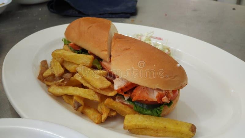 la hamburguesa del tandori come bien licencia bien foto de archivo