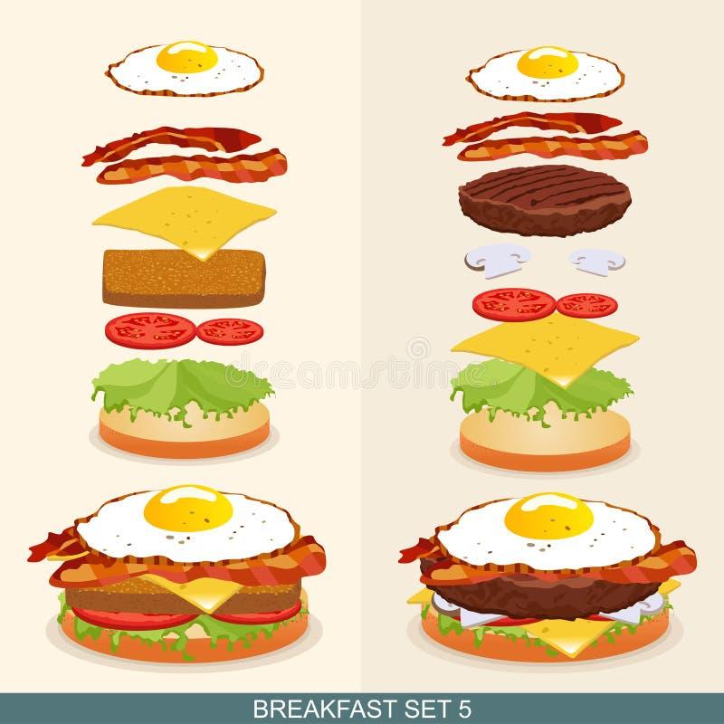 La hamburguesa fijó 5 libre illustration