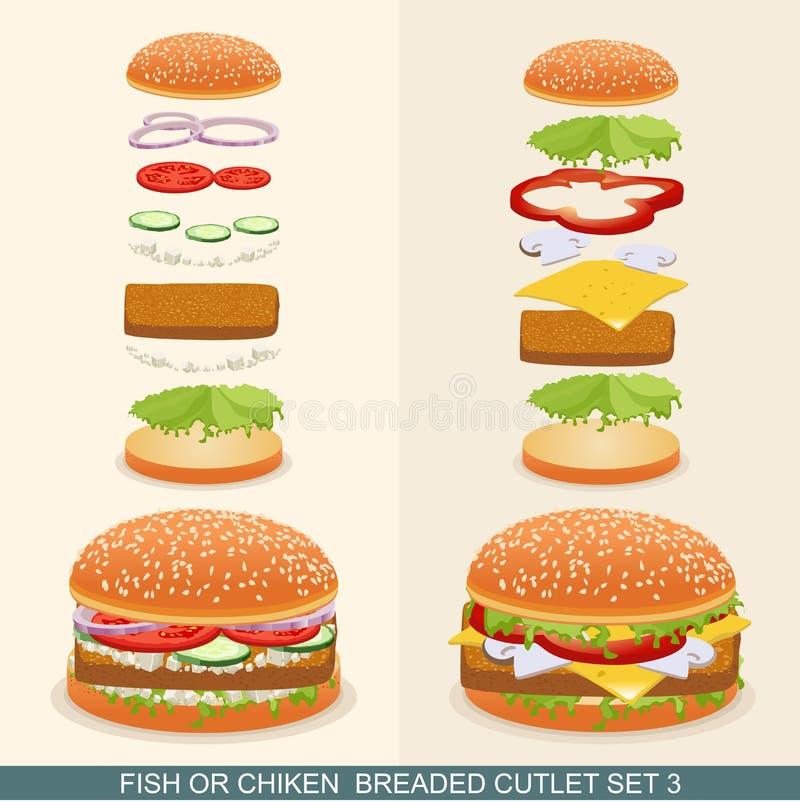 La hamburguesa fijó 3 ilustración del vector