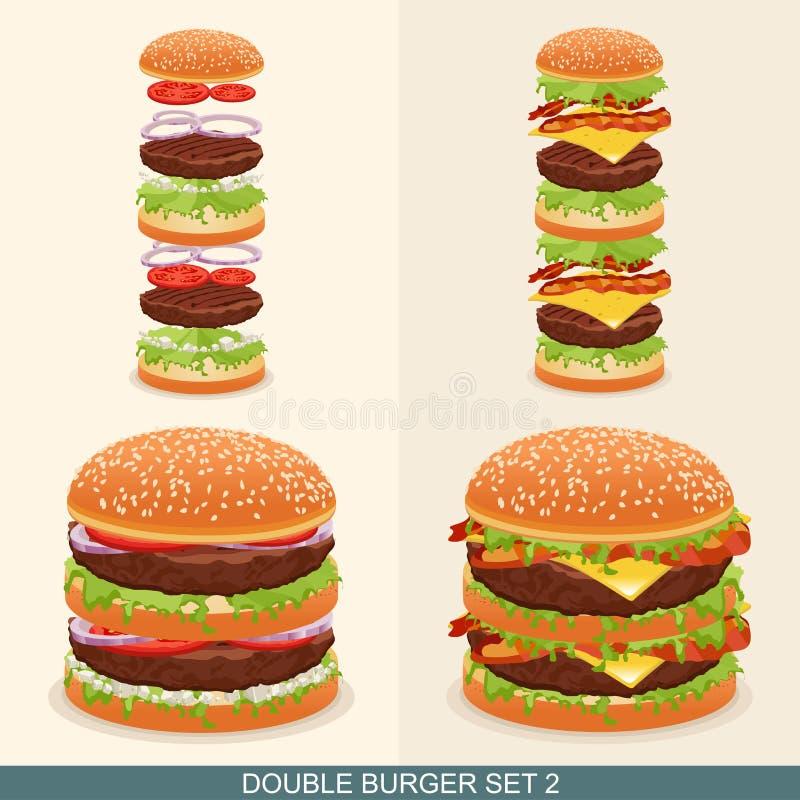 La hamburguesa fijó 2 libre illustration