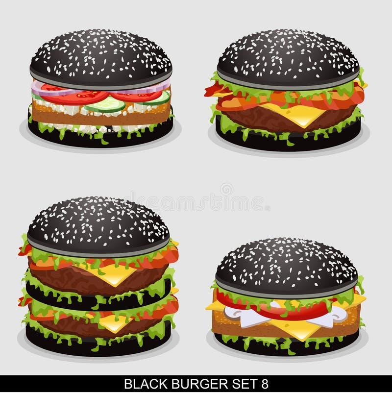 La hamburguesa fijó 8 stock de ilustración