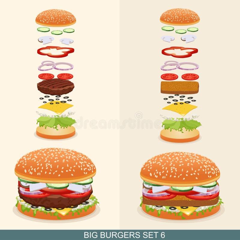 La hamburguesa fijó 6 libre illustration