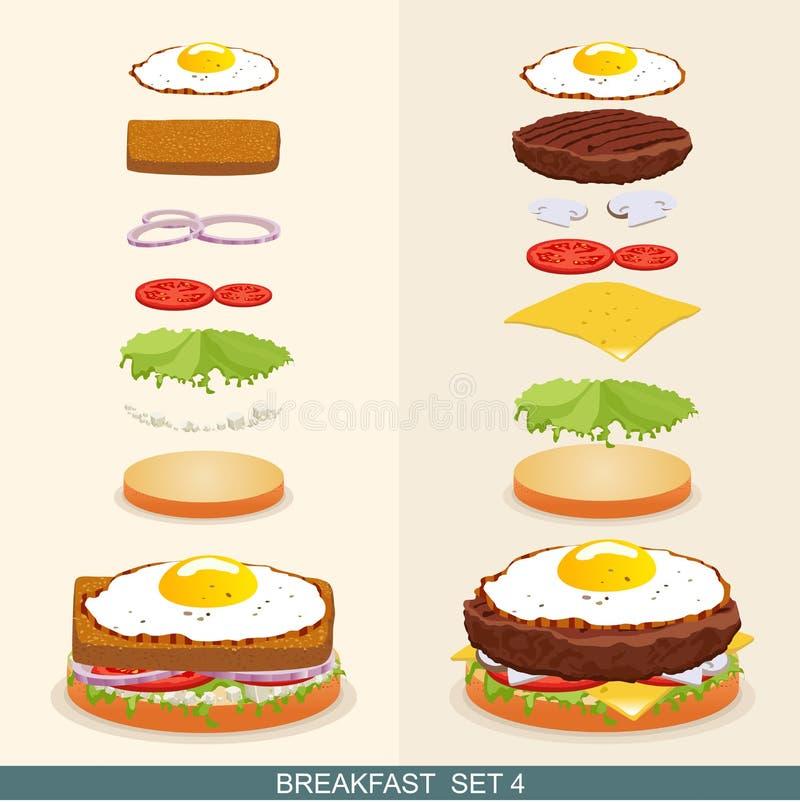 La hamburguesa fijó 4 ilustración del vector