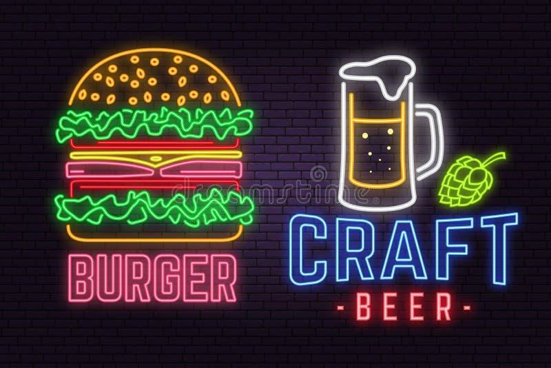 La hamburguesa y la cerveza de neón retras del arte firman en fondo de la pared de ladrillo Diseñe para el café, el hotel, el res ilustración del vector