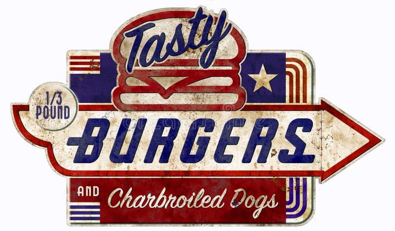 La hamburguesa y el perrito caliente firman la antigüedad retra del vintage de la hamburguesa imagenes de archivo