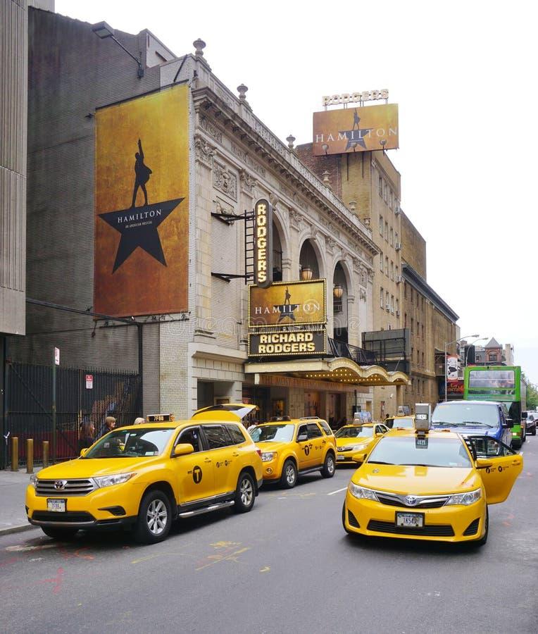 La Hamilton musical en el teatro de Rodgers en Nueva York imágenes de archivo libres de regalías