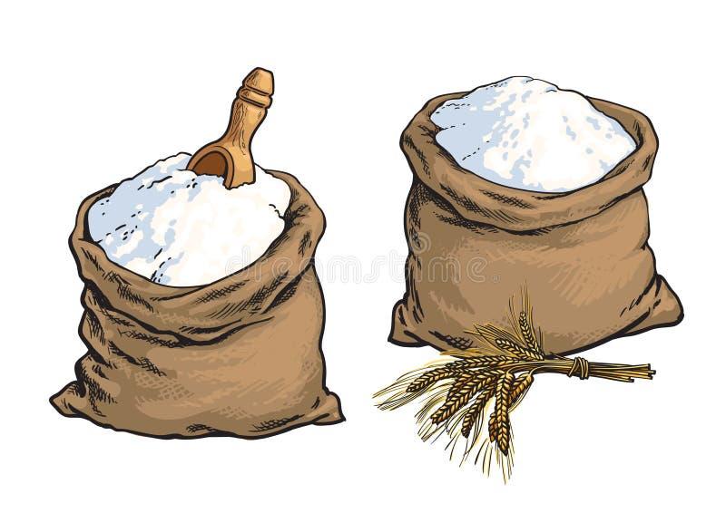 La harina de pan integral empaqueta con los oídos de madera de la cucharada y del trigo libre illustration