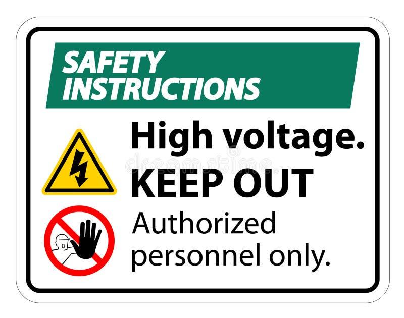 La haute tension d'instructions de sécurité empêchent d'entrer l'isolat de signe sur le fond blanc, l'illustration ENV de vecteur illustration de vecteur