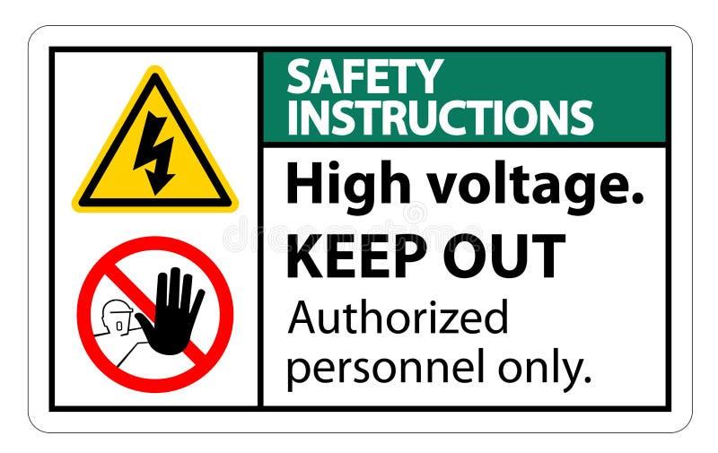 La haute tension d'instructions de sécurité empêchent d'entrer l'isolat de signe sur le fond blanc, l'illustration ENV de vecteur illustration libre de droits