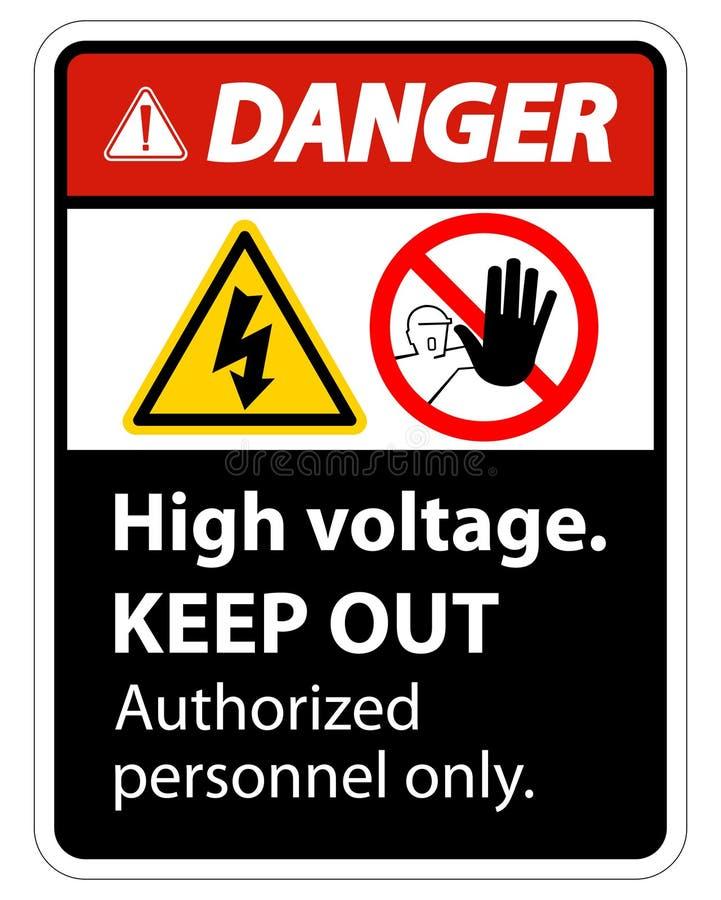 La haute tension de danger empêchent d'entrer l'isolat de signe sur le fond blanc, l'illustration ENV de vecteur 10 illustration libre de droits