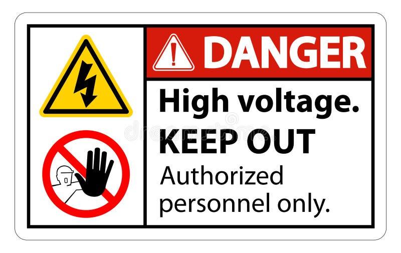 La haute tension de danger empêchent d'entrer l'isolat de signe sur le fond blanc, l'illustration ENV de vecteur 10 illustration de vecteur