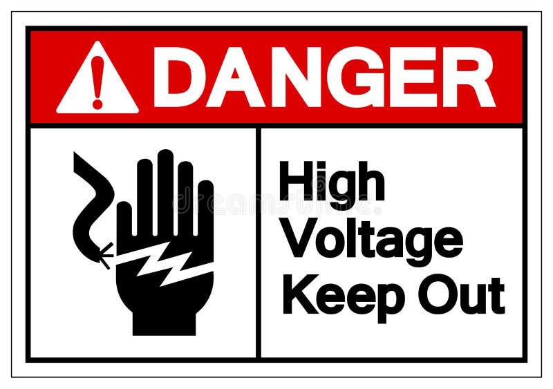La haute tension de danger empêchent d'entrer le signe de symbole, l'illustration de vecteur, isolat sur le label blanc de fond  illustration de vecteur