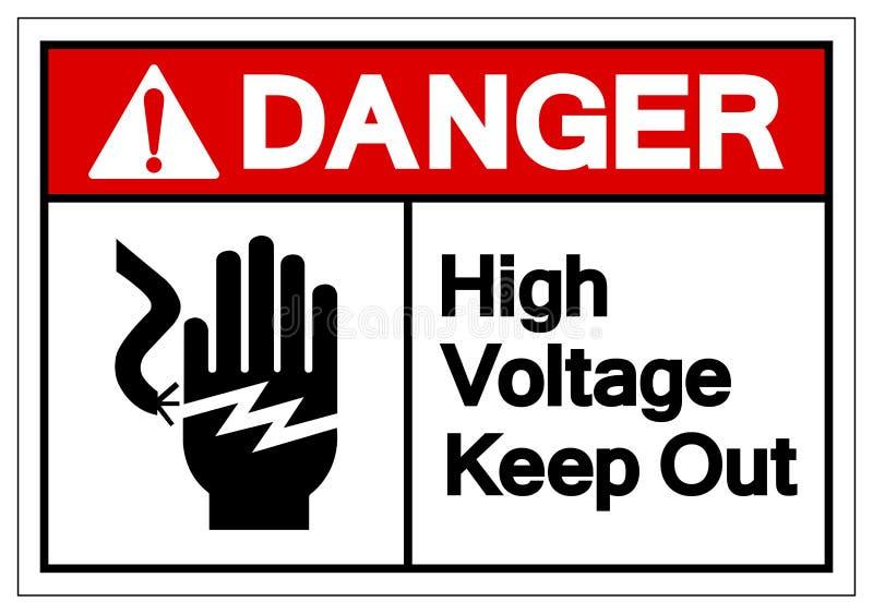 La haute tension de danger emp?chent d'entrer le signe de symbole, l'illustration de vecteur, isolat sur le label blanc de fond E illustration de vecteur
