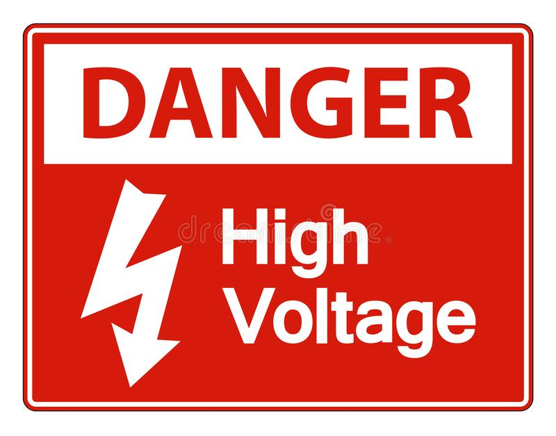 La haute tension de danger se connectent l'isolat blanc de fond sur le fond blanc, illustration de vecteur illustration de vecteur