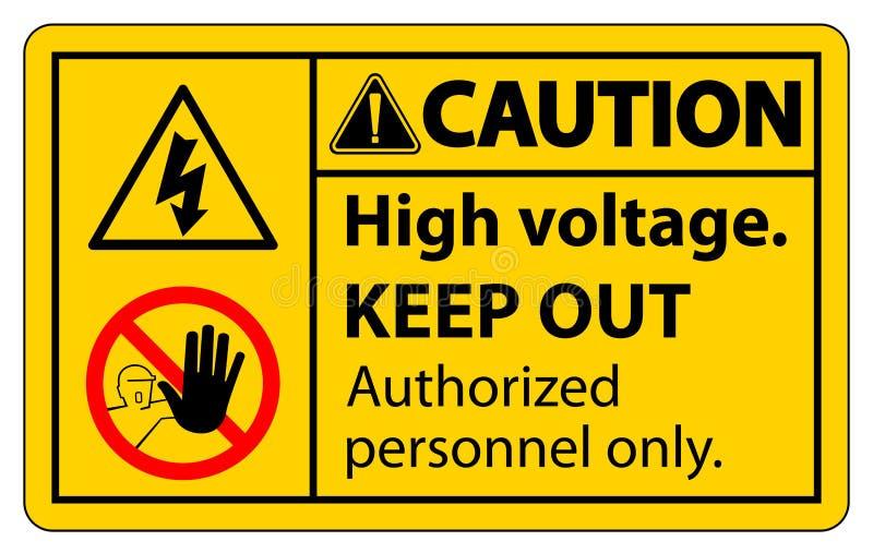 La haute tension de précaution empêchent d'entrer l'isolat de signe sur le fond blanc, l'illustration ENV de vecteur 10 illustration stock
