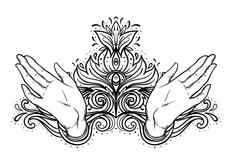 La hembra abierta entrega elementos sagrados del diseño de la geometría Alquimia, filosofía, símbolos de la espiritualidad Ejempl libre illustration
