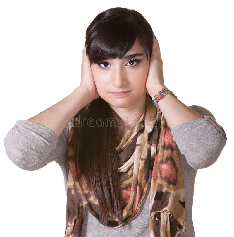 La hembra con entrega los oídos imagenes de archivo