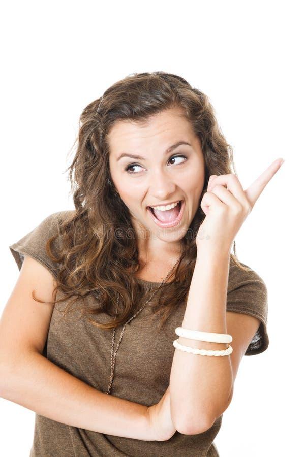 La hembra joven tiene una idea foto de archivo libre de regalías