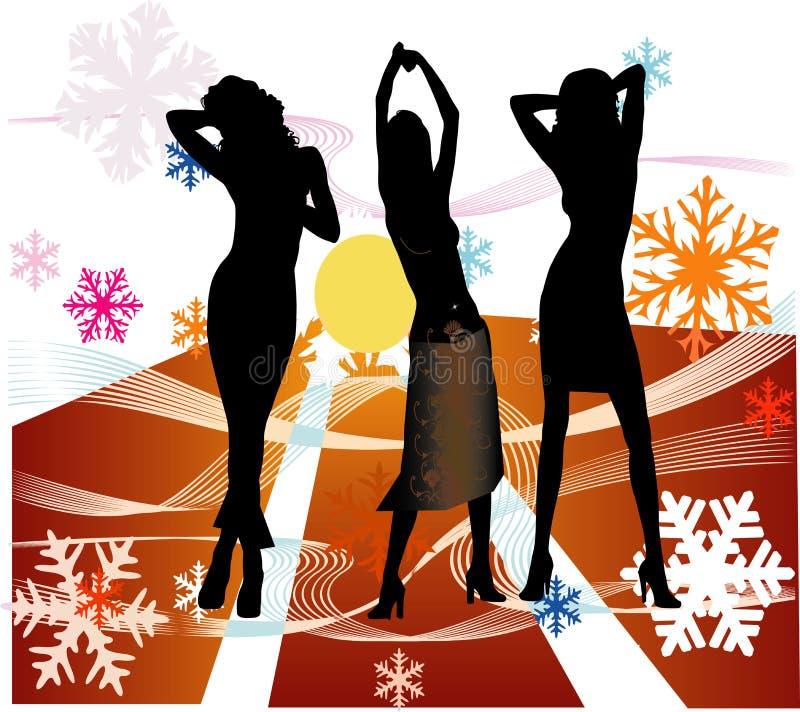 La hembra siluetea el baile en un disco ilustración del vector