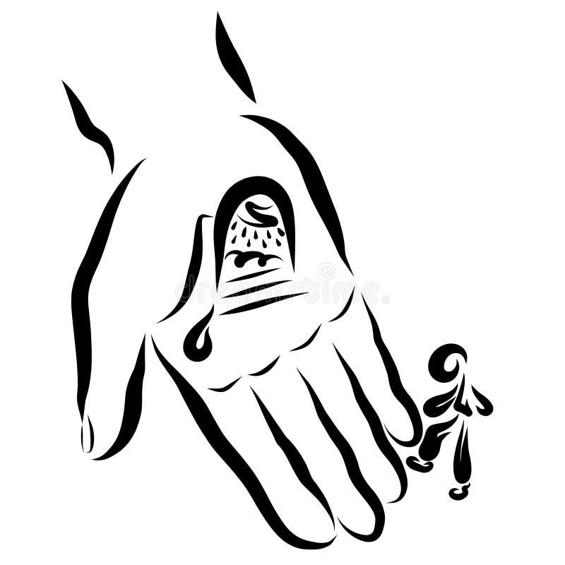 La herida de Jesus Christ abre la puerta en el nebesa, la persona ahorrada libre illustration