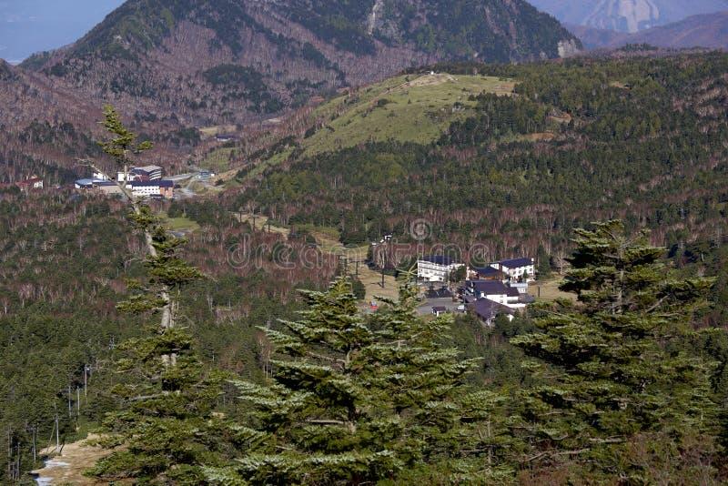 La hermosa vista del paso Shiga Kogen de Shibu en Japón fotos de archivo