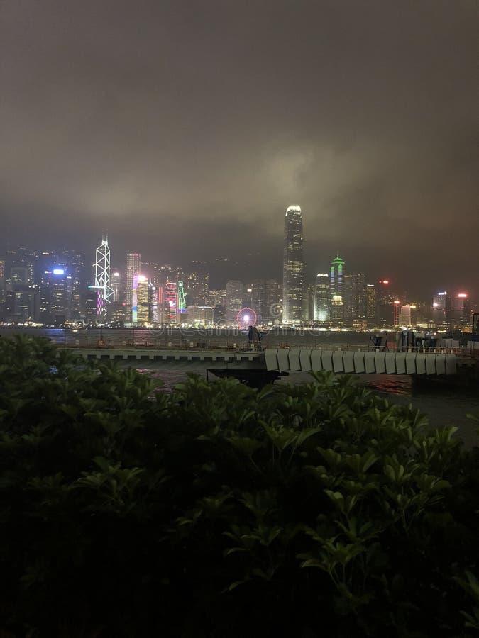 La hermosa vista, Hong Kong, noche, goza y se relaja fotos de archivo