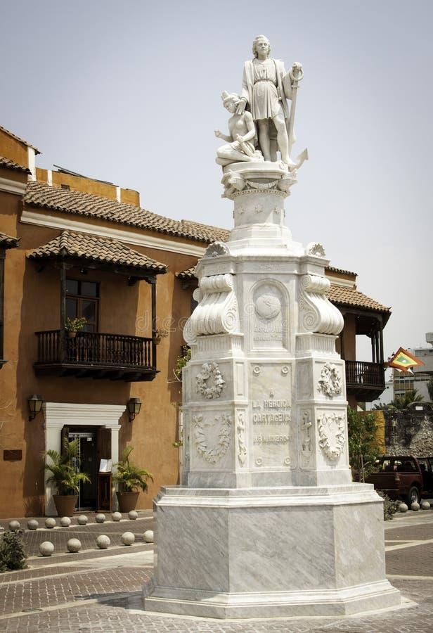 La Heroica de Cartagine Christopher Columbus della statua di Cartagine Colombia Sudamerica in Plaza de la Aduana fotografie stock libere da diritti