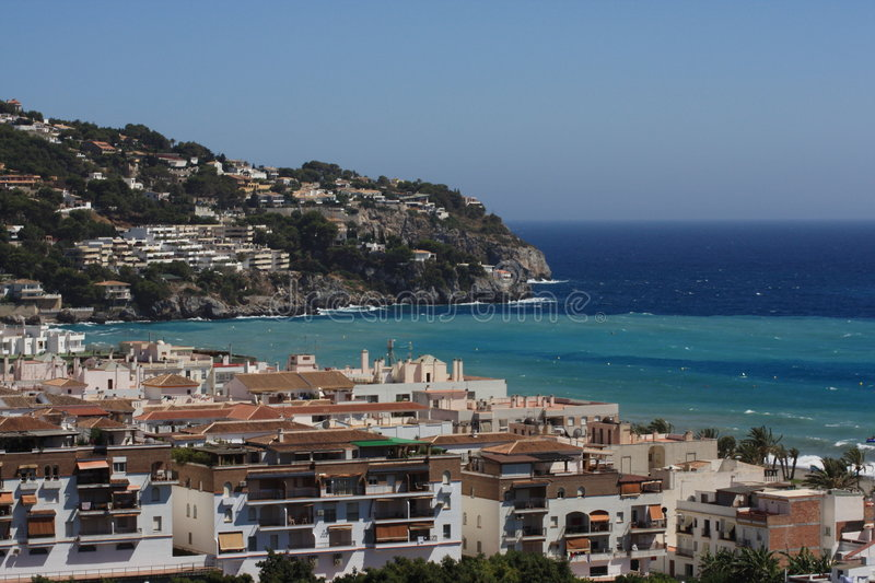 La Herradura Bay ( Granada , Spain ). The beautiful bay of La Herradura on the Costa Tropical of southern Spain ( Granada ) looking at the Cerro Gordo royalty free stock image