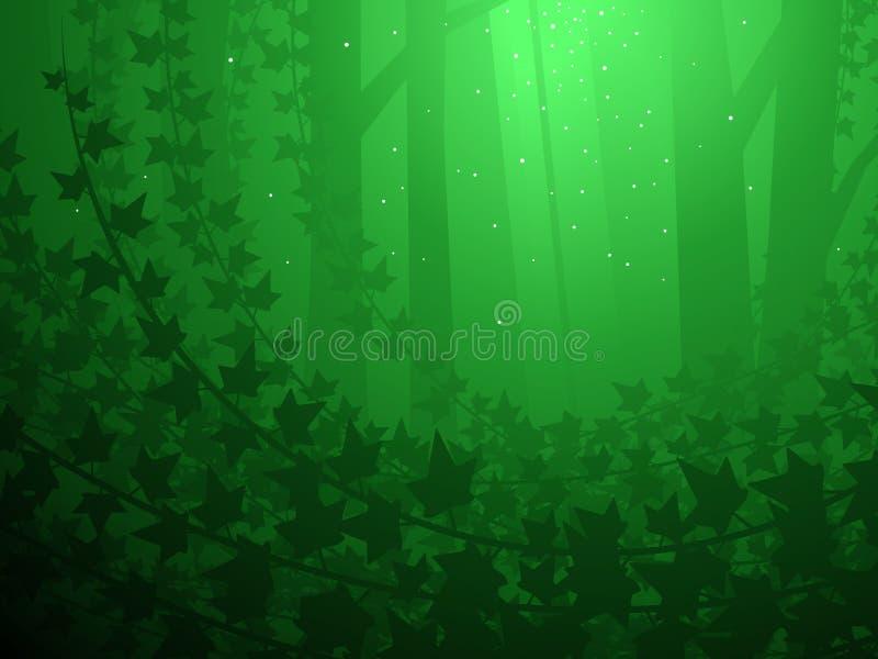 La hiedra cubrió el bosque ilustración del vector