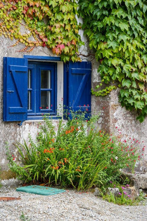 La hiedra cubrió exterior enyesado blanco de una cabaña que mostraba un macizo de flores debajo de una ventana con los obturadore fotografía de archivo