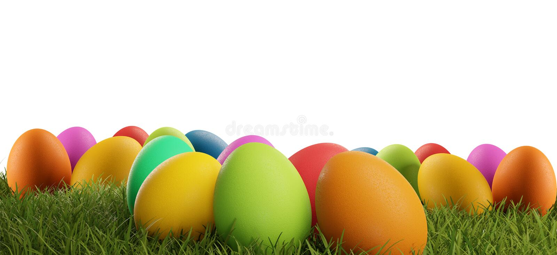 La hierba verde colorida 3d-illustration de los huevos de Pascua aisló libre illustration