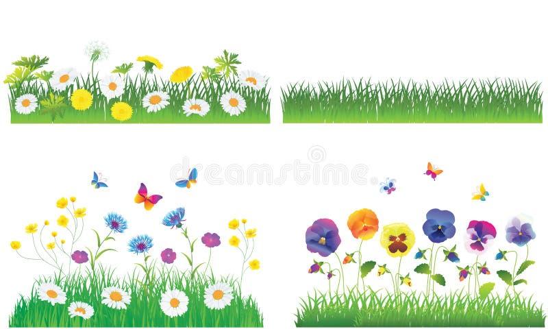 La hierba verde y las flores. libre illustration