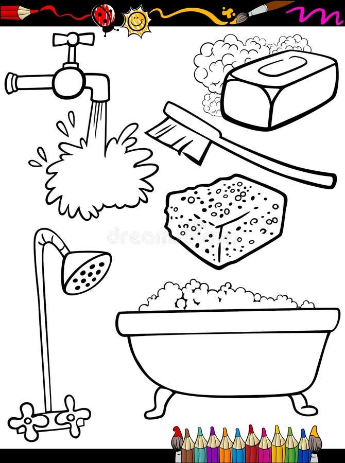La higiene de la historieta se opone la página del colorante ilustración del vector