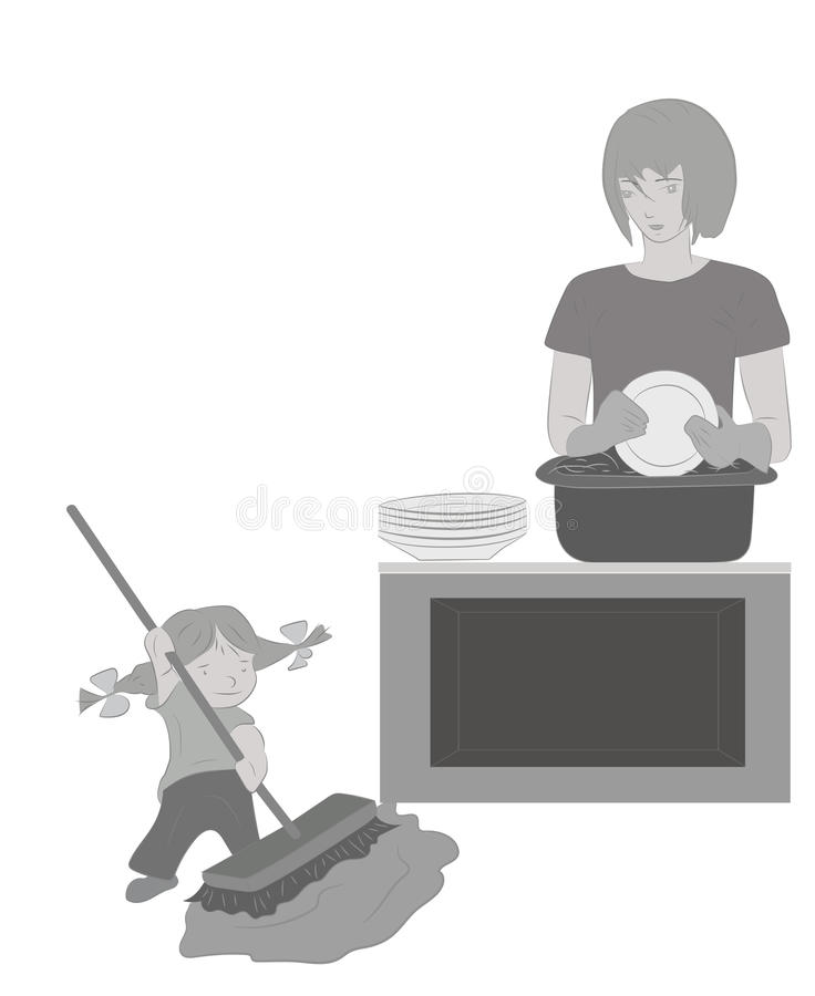 La hija ayuda a la momia a limpiar Modelo floral (inconsútil) Ilustración del vector stock de ilustración