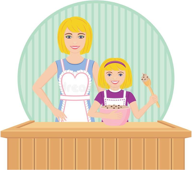 La hija de las ayudas de la madre cuece al horno libre illustration