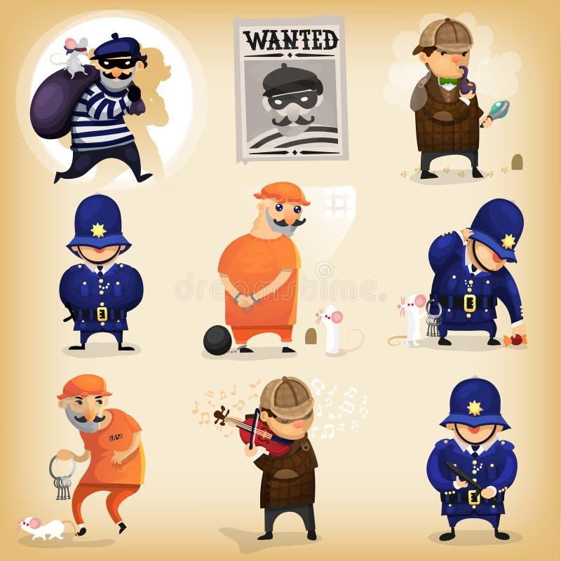 La historia de detectives con roba y detective ilustración del vector