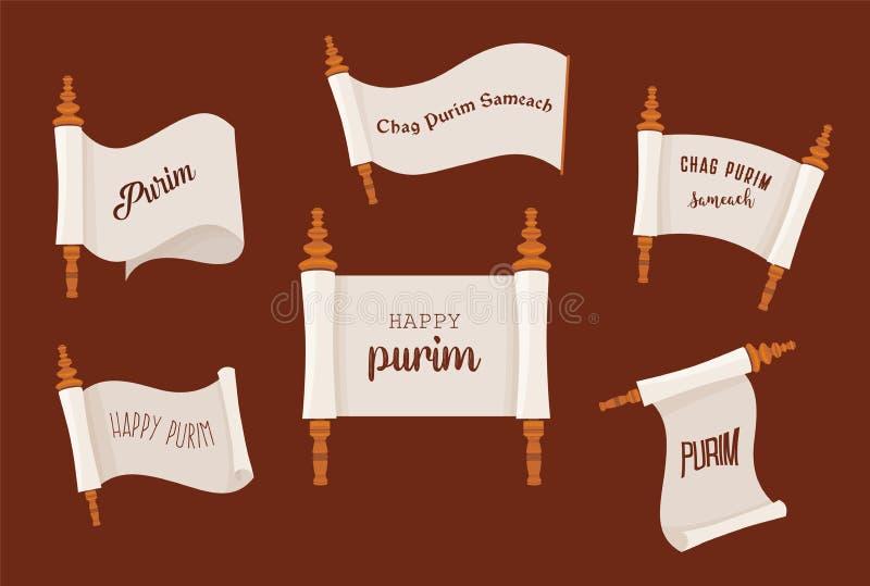 la historia de Purim Sistema acient judío de la voluta ejemplo de la plantilla de la bandera stock de ilustración