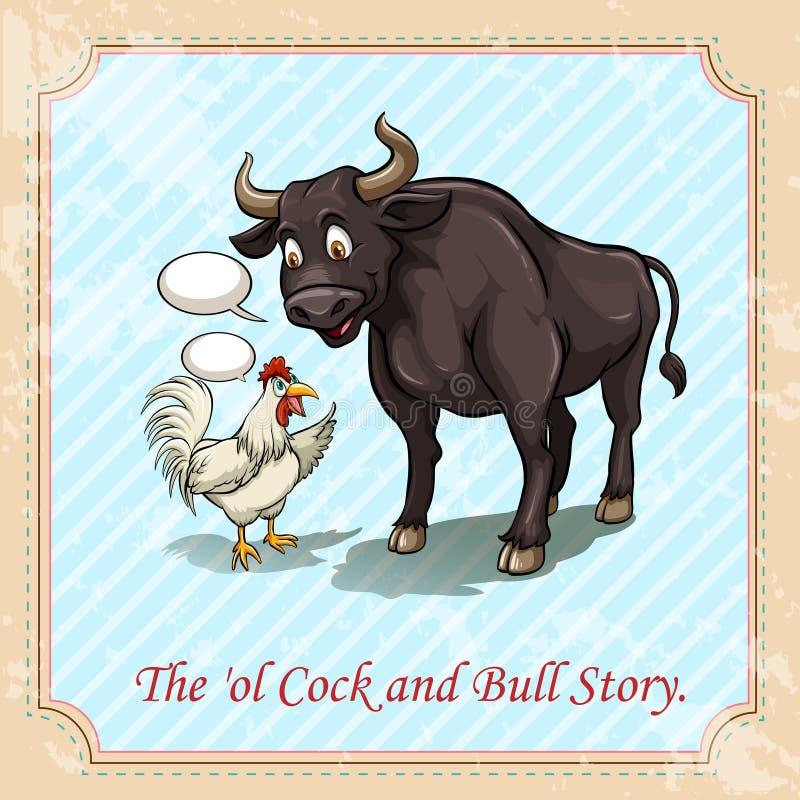 La historia del gallo y del toro stock de ilustración