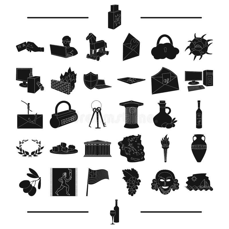 La historia, el turismo, la vinificación y el otro icono del web en estilo negro vino, copa de vino, iconos en la colección del s ilustración del vector