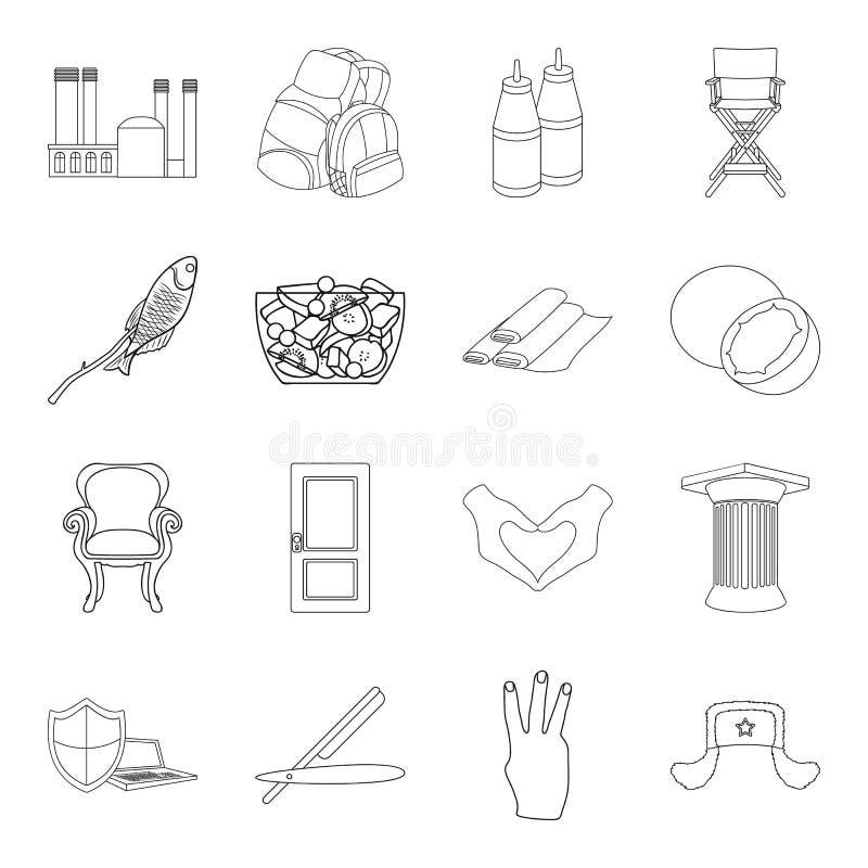 La historia, la industria pesquera, la aptitud y el otro icono del web en estilo del esquema peluquero, cocinando, iconos que via stock de ilustración
